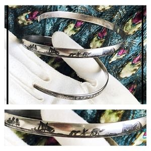 Vintage Jewelry - Unusual Sterling Egyptian Revival Wrap Bracelet